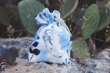 Hand painted Drawstring bag