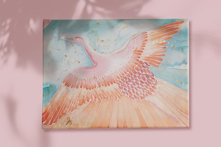 Pastel bird - silk painting