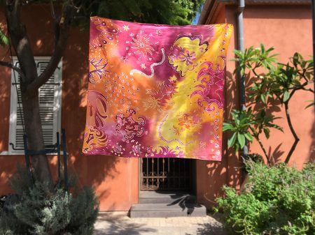 Hand painted silk scarf in Israel graphic forest כיסוי ראש