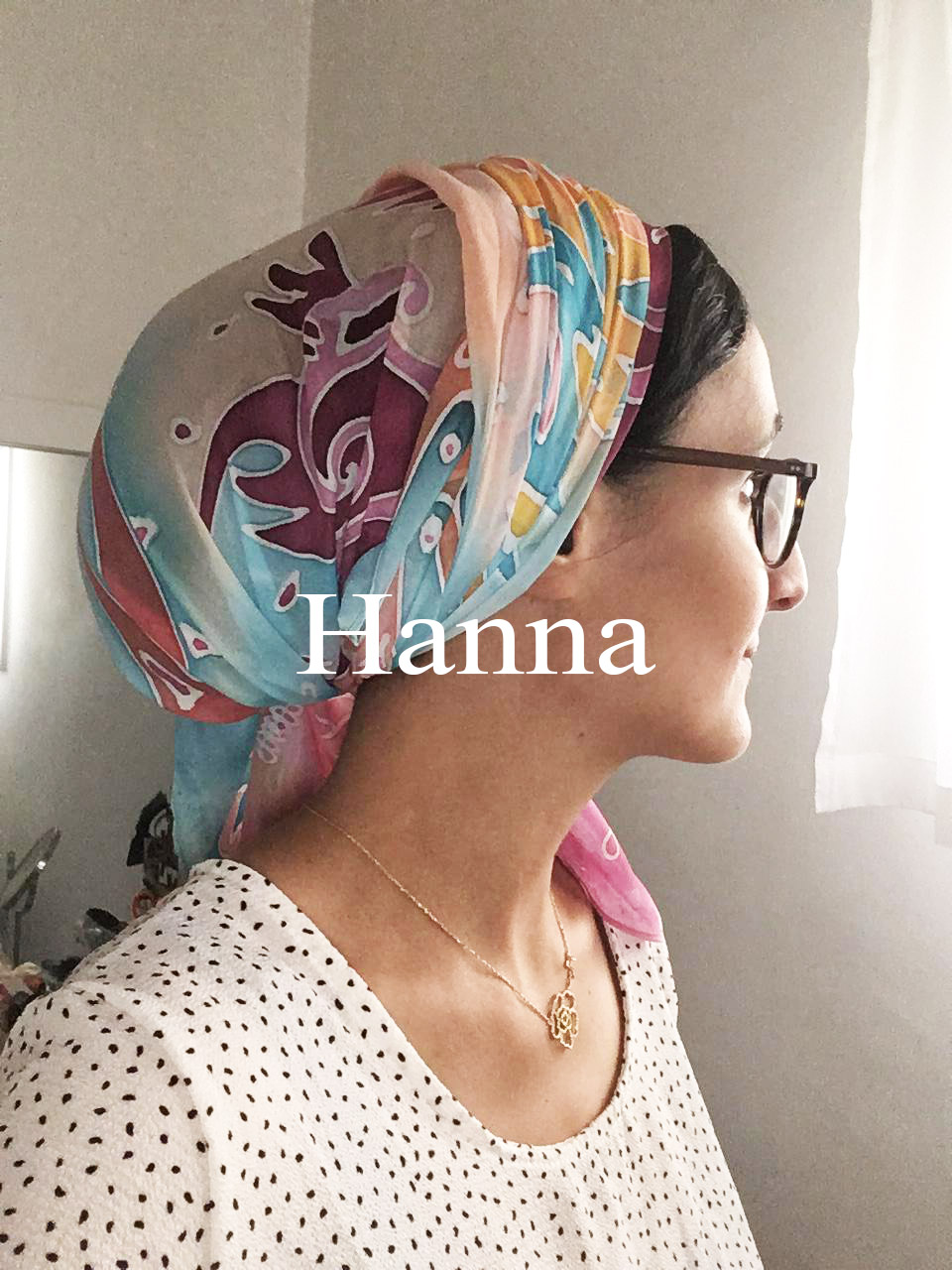 Hanna Hand painted silk scarf in Israel Avigael Creation