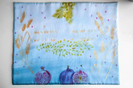 Hand painted on silk Challah cover Israel's fruits קיסוי חלות