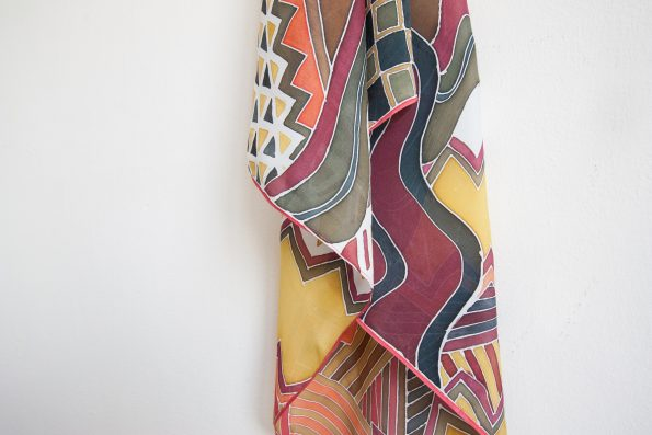 Checkers – hand-painted silk scarf