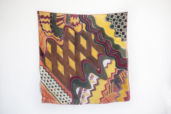 Checkers - hand-painted silk scarf