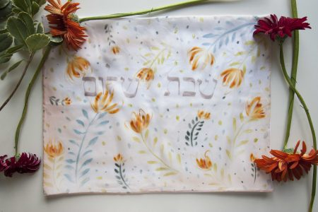 Hand painted challah cover tulip