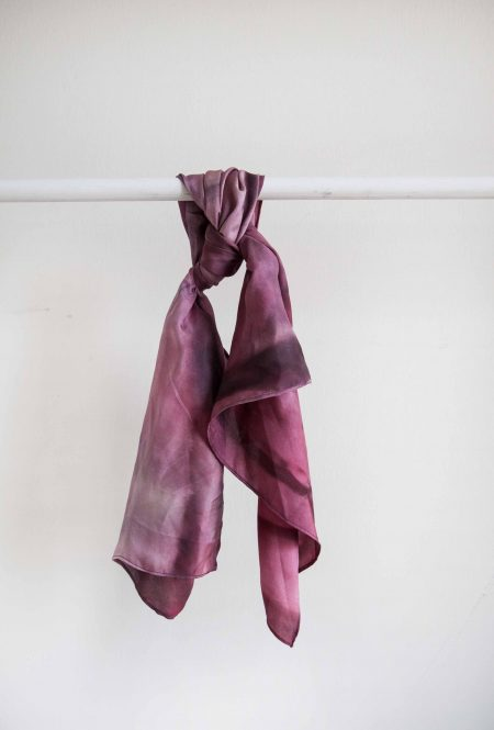 Red - hand-painted silk scarf