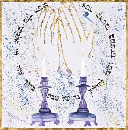 Judaica art drawing shabath candle lighting