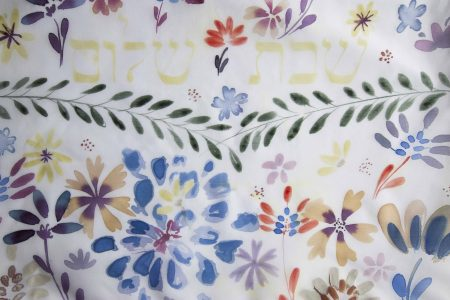 Hand painted challah cover flowers