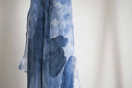 Blue marble - hand-painted silk scarf