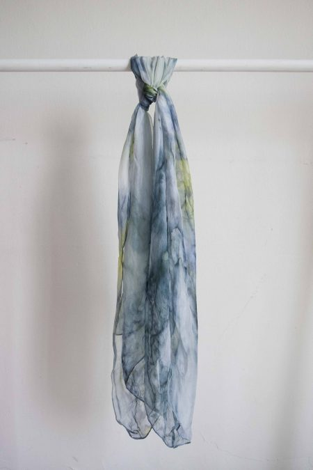 Green marble - hand-painted silk scarf