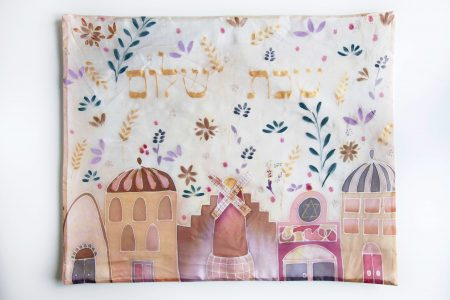 Flowers in Jerusalem, hand painted challah cover