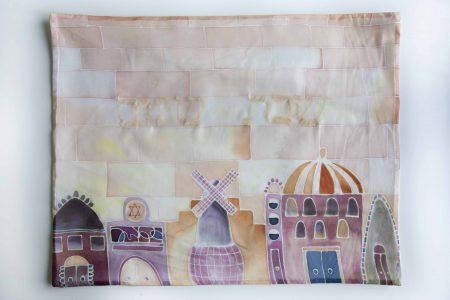 Jerusalem, hand painted challah cover