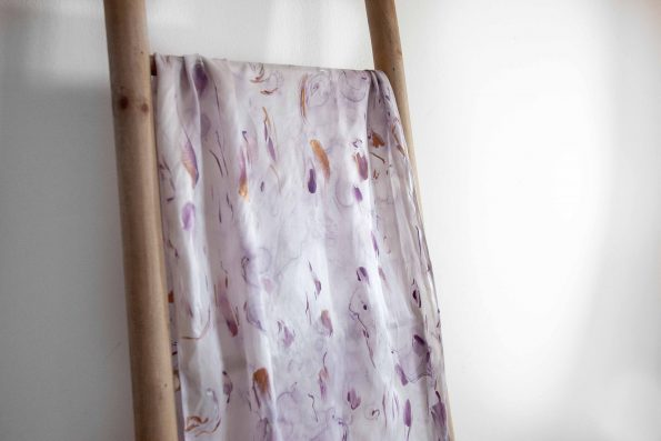 Purple and gold arty in silk satin