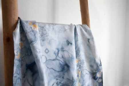 Blue and gold marble in silk twill