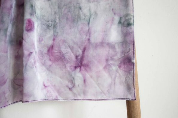 Grey and Purple marble in silk twill