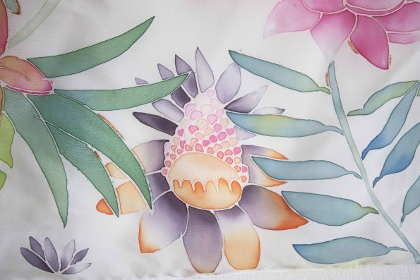 Flowers – hand painted silk scarf