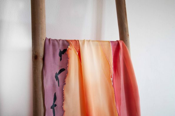 Savanna hand painted silk scarf