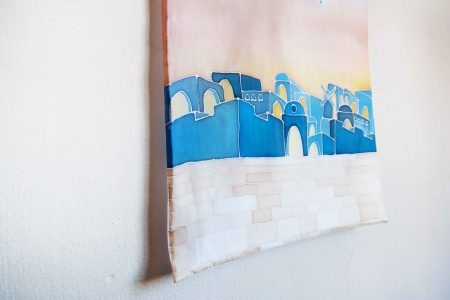 Jerusalem by night - silk painting for home