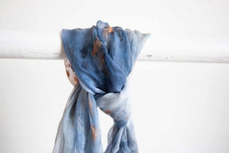 Blue and gold marble - hand-painted silk scarf