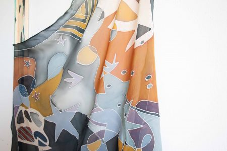 Fantaisy - hand-painted silk scarf