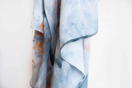 Grey and ocher marble - hand-painted silk scarf