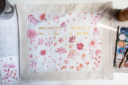 pink flowers challah cover
