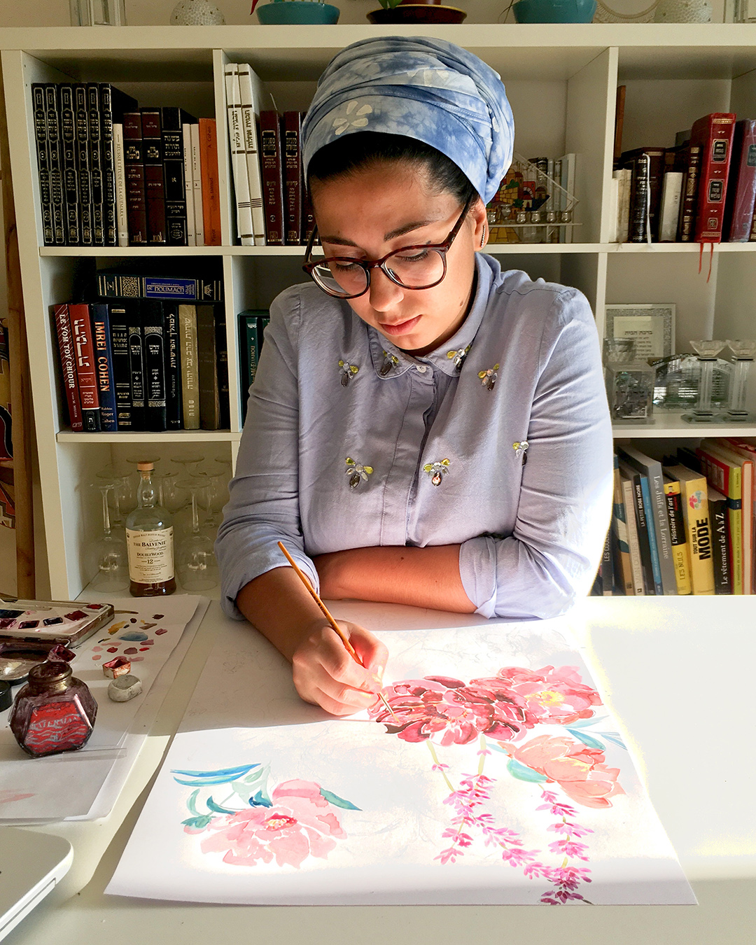Hand-painted scarves and judaica art